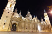 Night Cathedral Basilica of our Lady of the pillar built in the — Stock Photo