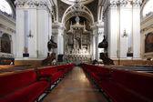 Seats the interior of Cathedral Basilica of Nuestra Señora del Pilar, built in the year 1681 in Zaragoza, Spain — Foto de Stock