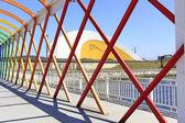 Modern bridge of iron, painted colors — Foto Stock