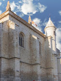 Old church with blue sky and clouds, city Tordesillas, Spain — Foto Stock