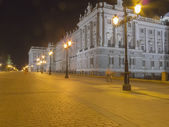 Night view of the East Palace in Madrid, Spain — Stock Photo