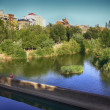 Stock Photo: Bernesga river crossing the city of Leon, Spain