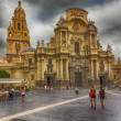 MurciCathedral of year 1465 day of storm, in Murcia, Spa — Stock Photo #37821051
