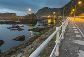 View after the storm of the promenade of the fishing village of — Stock Photo