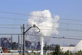 Large chimneys in a factory — 图库照片