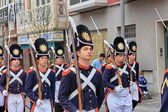 CARTAGENA, SPAIN Mar 25: Picket of soldiers parading with evenin — Stock Photo