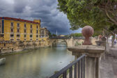 Safe river crossing the city of Murcia storm one day — Stock Photo