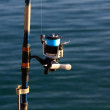 Стоковое фото: Foreground reel fishing rod