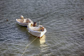 Small fishing boats tied — Stock Photo