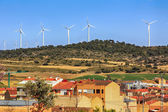 Village with windmills wind power — Stockfoto
