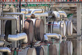 Pipes thousand colors in a modern oil refinery — Stock Photo