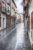 Street wet by the rain in Tordesillas, Spain — Stockfoto