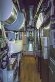 Narrow corridor of ancient submarine — Stock Photo