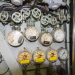 Adjustment and control panels of old submarine — Stock Photo #40507565