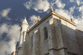 Old church with blue sky and clouds, city Tordesillas, Spain — Stockfoto