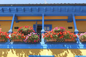 Brightly colored house with balcony full of flowers — Stockfoto