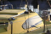 Details of a yellow sailboat — Stock Photo