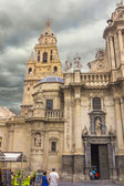 Murcia Cathedral of the year 1465 a day of storm, in Murcia, Spa — Stock Photo