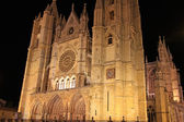 Leon Cathedral at night, in Leon Spain — Stock Photo