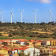 Stock Photo: Village with windmills wind power