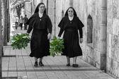 Madrid, Hiszpania - 4:nuns kwietnia idąc ulicą przygotowane — Zdjęcie stockowe
