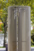 Modern sculpture in steel cylindrical — Stock Photo