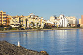Buildings by the sea and the beach in La Manga, Murcia, Spain — Stock Photo