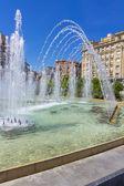 Modern fountain in the square Zorrilla in Valladolid, Spain — Stock Photo