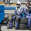 Pit Crew on break at Grand AM Rolex Races on Mazda Laguna Seca Raceway — Stock Photo