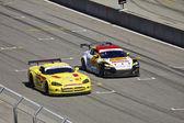 Mazda RX-8 GT and Dodge Viper on the track at Grand AM Rolex Races on Mazda Laguna Seca Raceway — Stock Photo