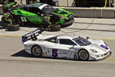 Corvette Can-Am passes Ferrari F458 in pit stop at Grand AM Rolex Races on Mazda Laguna Seca Raceway — Stock Photo