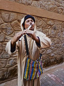 Moroccan Street Flutist — Stock Photo