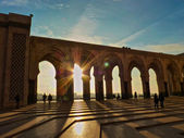 Sunset at Mosque Hassan II Casablanca Morocco — Stock Photo