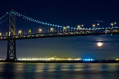 Moon Rising Under San Francisco Bay Bridge — Stock Photo