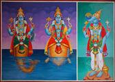 Hindu gods on a temple ceiling — Stock Photo