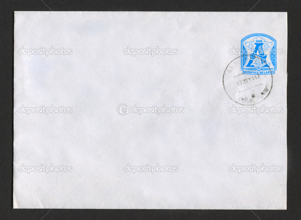 BELARUS - CIRCA 2009: Mailing envelope with postage stamps dedicated to Belarusian Initial Letter A, circa 2009. — Stock Photo #13869667