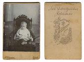 Vintage photo of a child, circa 1880. — Stock Photo