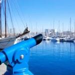 Barcelona port marina with blue telescope — Stock Photo #10819164