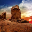Stock Photo: Gran canaria roque nublo dramatic sunset sky