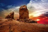 Gran canaria roque nublo dramatic sunset sky — Stock Photo