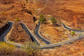 Curves winding road high view in red mountains — Stock Photo