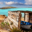 Formentera Illetes beach aged boat wooden grunge house — Stock Video