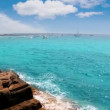 Balearic formentera island Illetes Illetas beach with turquoise water and islets — Stock Video