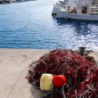 Stock Video: Balearic islands formenterport with trammel fisher nets buoys and fishingboats in background