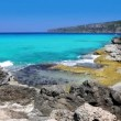 Beautiful rocky shore beach escalo in balearic islands - Stock Photo