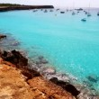 Beautiful rocky beach in balearic islands with blue turquoise water — Stock Video