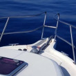 Boat sailing in a calm blue sea mediterranean water — Stock Video