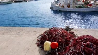Balearic islands formentera port with trammel fisher nets buoys and fishingboats in background — Stock Video
