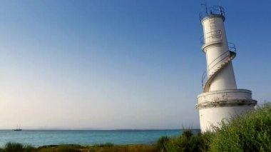 La Savina lighthouse in Formentera in Balearic islands — Stock Video #12675906