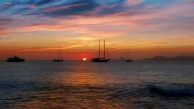 Ibiza sea sunset view from Formentera Balearic islands — Stock Video